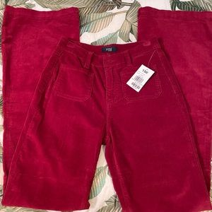 YMI Red High Rise Corduroy Flare Jeans